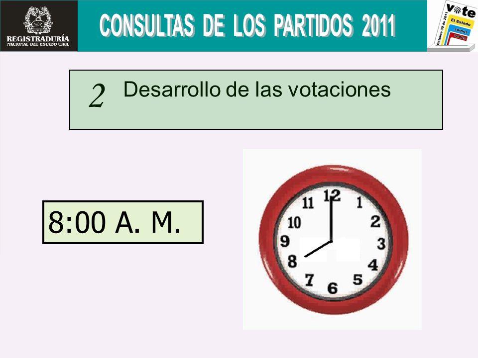 Desarrollo de las votaciones 2 8:00 A. M.