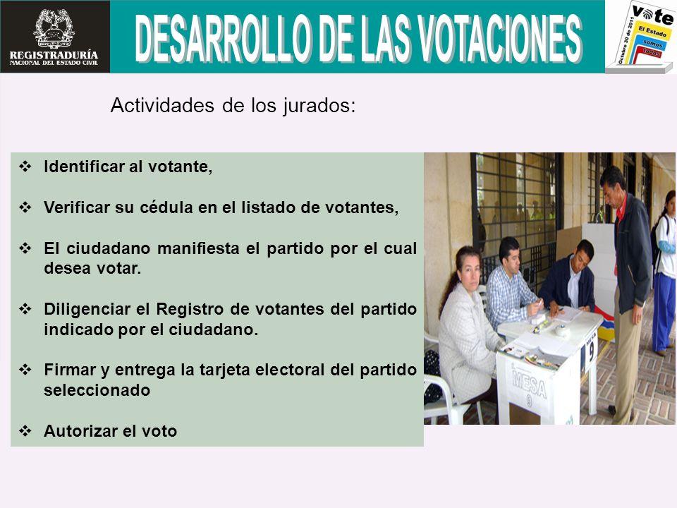 Identificar al votante, Verificar su cédula en el listado de votantes, El ciudadano manifiesta el partido por el cual desea votar. Diligenciar el Regi