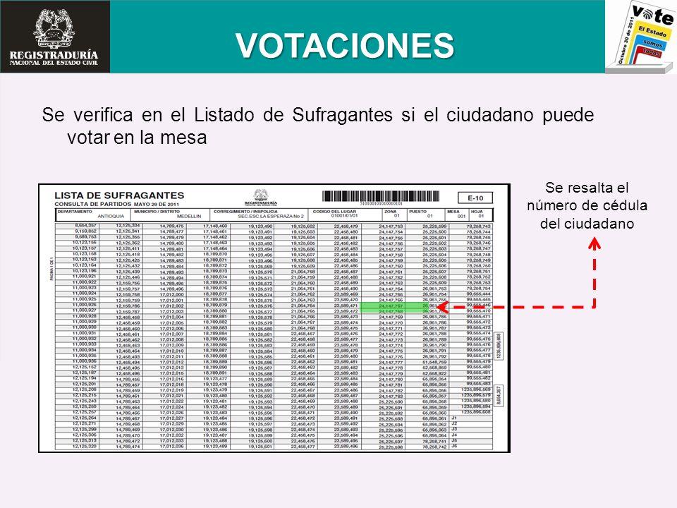 VOTACIONES Se verifica en el Listado de Sufragantes si el ciudadano puede votar en la mesa Se resalta el número de cédula del ciudadano