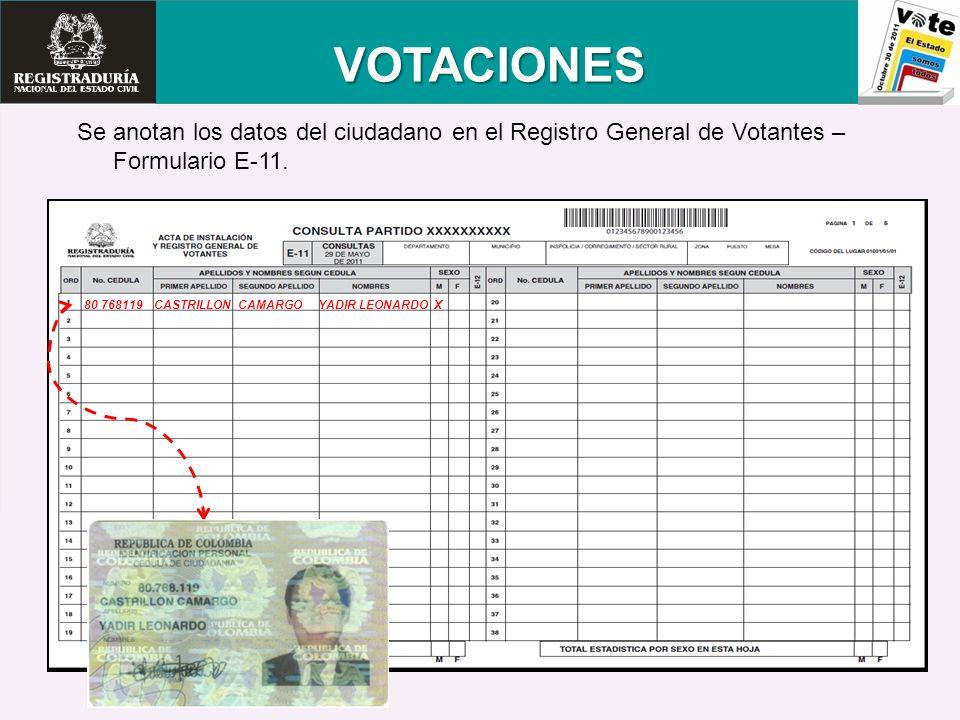 Se anotan los datos del ciudadano en el Registro General de Votantes – Formulario E-11. VOTACIONES 80 768119 CASTRILLON CAMARGO YADIR LEONARDO X