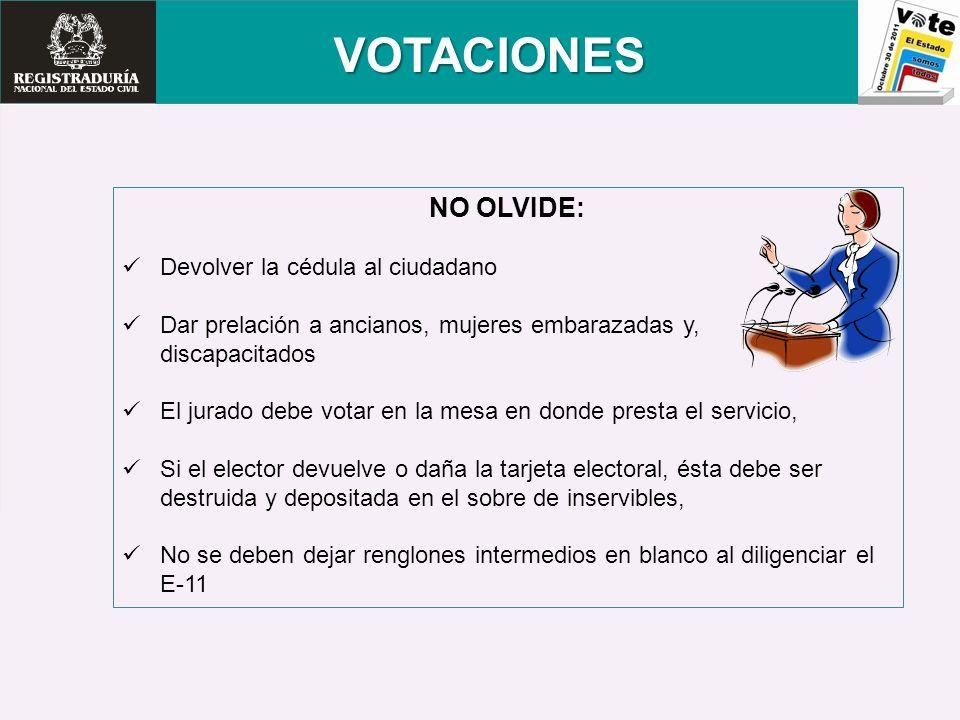 VOTACIONES NO OLVIDE: Devolver la cédula al ciudadano Dar prelación a ancianos, mujeres embarazadas y, discapacitados El jurado debe votar en la mesa