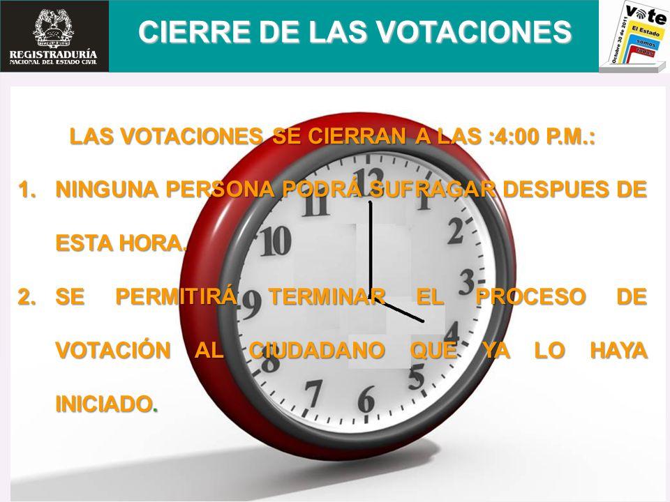 CIERRE DE LAS VOTACIONES LAS VOTACIONES SE CIERRAN A LAS :4:00 P.M.: 1.NINGUNA PERSONA PODRÁ SUFRAGAR DESPUES DE ESTA HORA. 2.SE PERMITIRÁ TERMINAR EL