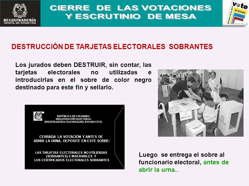 Los jurados deben DESTRUIR, sin contar, las tarjetas electorales no utilizadas e introducirlas en el sobre de color negro destinado para este fin y se