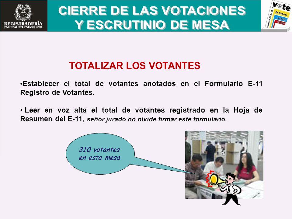 310 votantes en esta mesa Establecer el total de votantes anotados en el Formulario E-11 Registro de Votantes. Leer en voz alta el total de votantes r