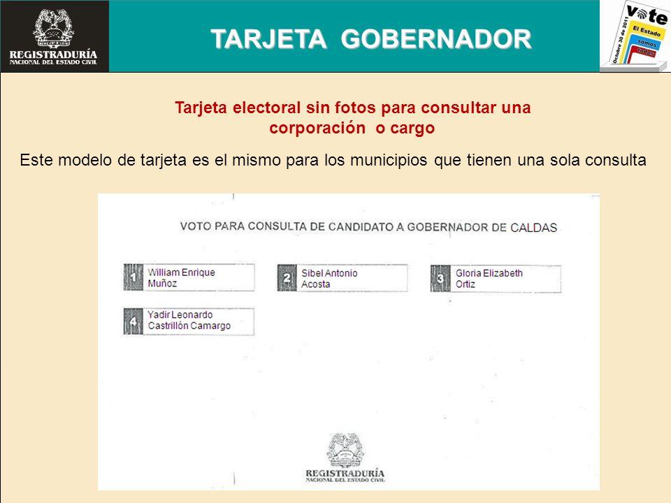 TARJETA GOBERNADOR Este modelo de tarjeta es el mismo para los municipios que tienen una sola consulta Tarjeta electoral sin fotos para consultar una