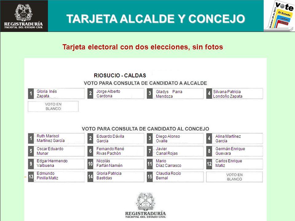 TARJETA ALCALDE Y CONCEJO Tarjeta electoral con dos elecciones, sin fotos
