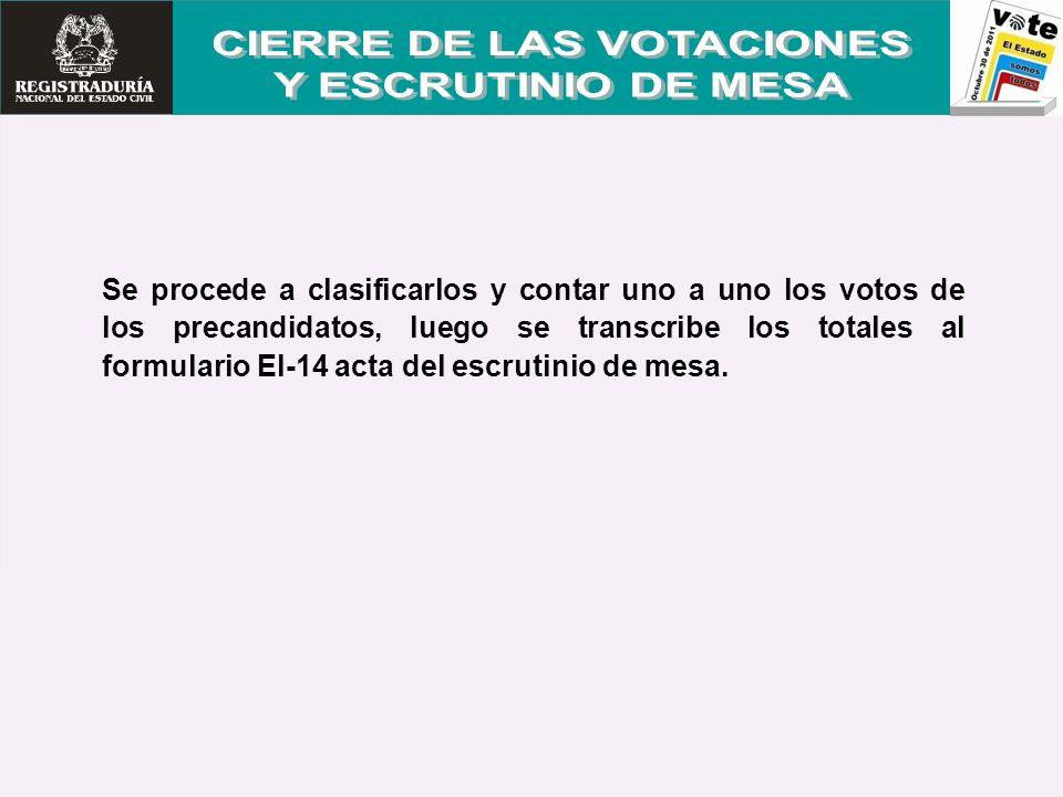 Se procede a clasificarlos y contar uno a uno los votos de los precandidatos, luego se transcribe los totales al formulario El-14 acta del escrutinio