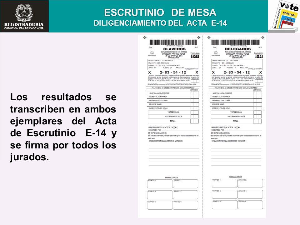 ESCRUTINIO DE MESA DILIGENCIAMIENTO DEL ACTA E-14 Los resultados se transcriben en ambos ejemplares del Acta de Escrutinio E-14 y se firma por todos l