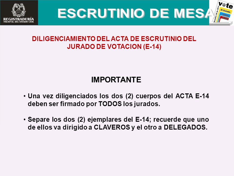 DILIGENCIAMIENTO DEL ACTA DE ESCRUTINIO DEL JURADO DE VOTACION (E-14) IMPORTANTE Una vez diligenciados los dos (2) cuerpos del ACTA E-14 deben ser fir