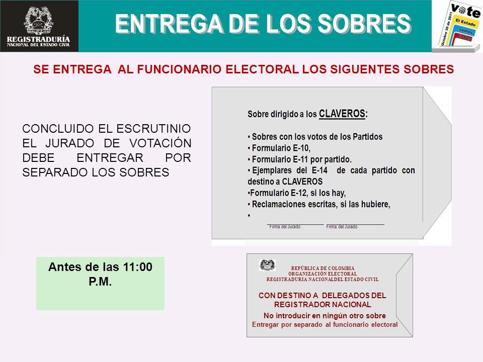 SE ENTREGA AL FUNCIONARIO ELECTORAL LOS SIGUENTES SOBRES Antes de las 11:00 P.M. CONCLUIDO EL ESCRUTINIO EL JURADO DE VOTACIÓN DEBE ENTREGAR POR SEPAR