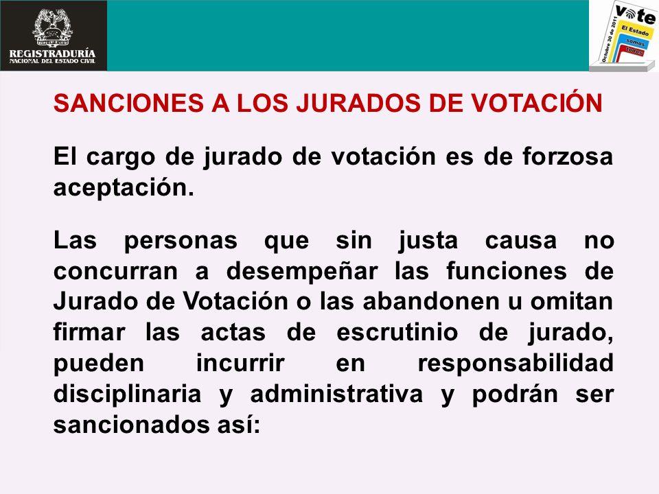 SANCIONES A LOS JURADOS DE VOTACIÓN El cargo de jurado de votación es de forzosa aceptación. Las personas que sin justa causa no concurran a desempeña