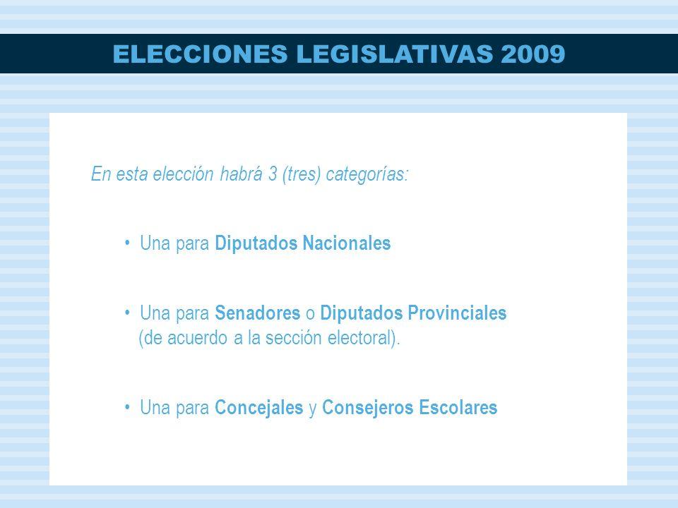 ELECCIONES LEGISLATIVAS 2009 En esta elección habrá 3 (tres) categorías: Una para Diputados Nacionales Una para Senadores o Diputados Provinciales (de acuerdo a la sección electoral).