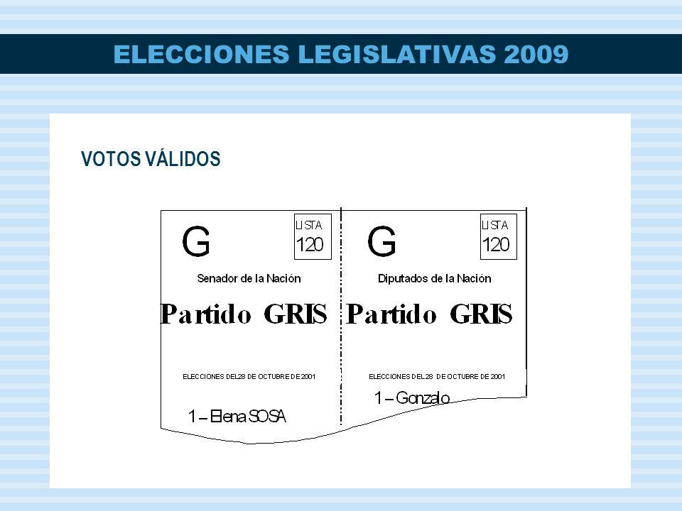 ELECCIONES LEGISLATIVAS 2009 VOTOS VÁLIDOS