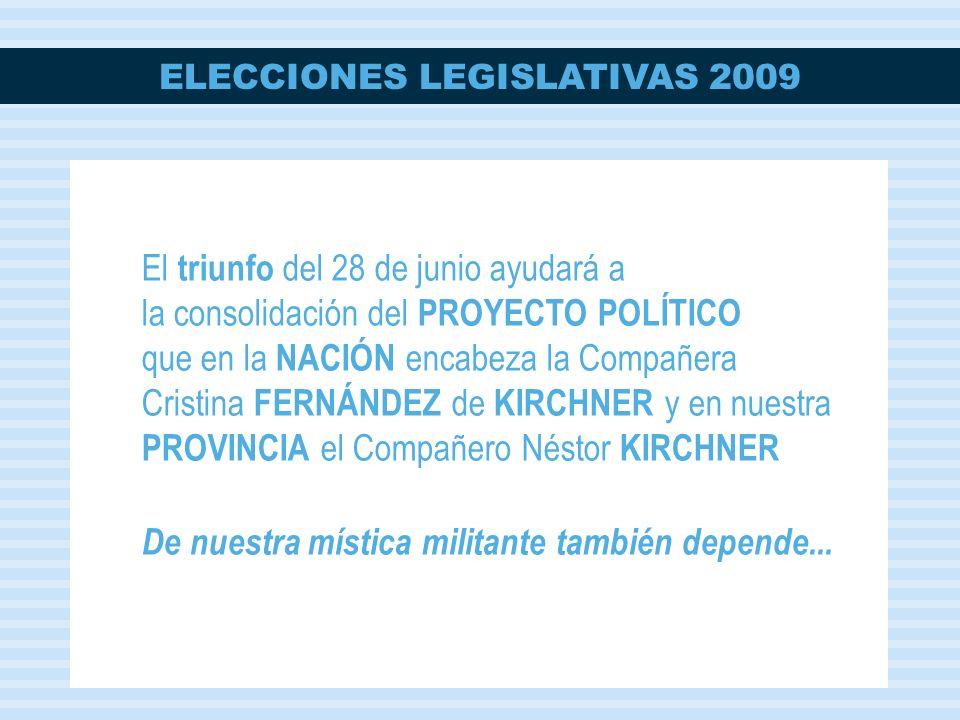 ELECCIONES LEGISLATIVAS 2009 El triunfo del 28 de junio ayudará a la consolidación del PROYECTO POLÍTICO que en la NACIÓN encabeza la Compañera Cristi