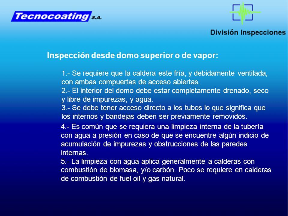 Inspección desde domo superior o de vapor: 1.- Se requiere que la caldera este fría, y debidamente ventilada, con ambas compuertas de acceso abiertas.