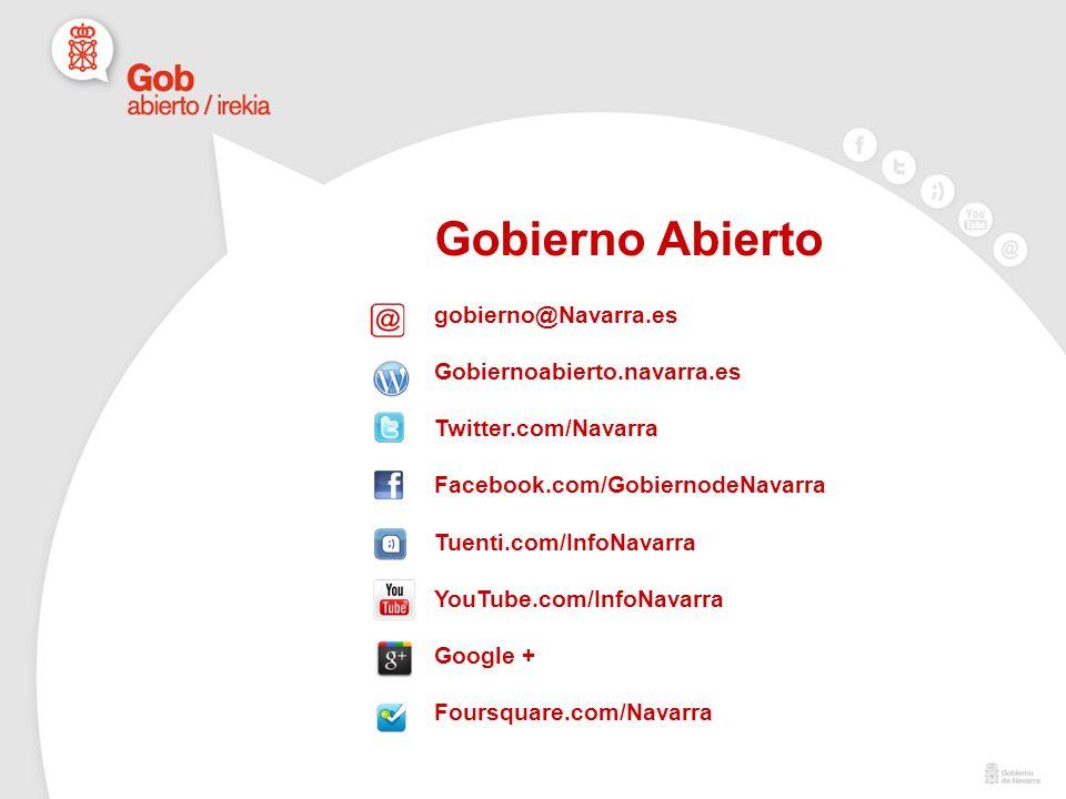 Gobierno Abierto gobierno@Navarra.es Gobiernoabierto.navarra.es Twitter.com/Navarra Facebook.com/GobiernodeNavarra Tuenti.com/InfoNavarra YouTube.com/InfoNavarra Google + Foursquare.com/Navarra