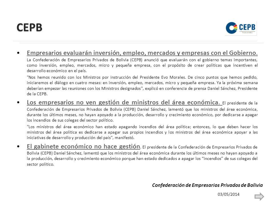 CEPB Empresarios evaluarán inversión, empleo, mercados y empresas con el Gobierno.