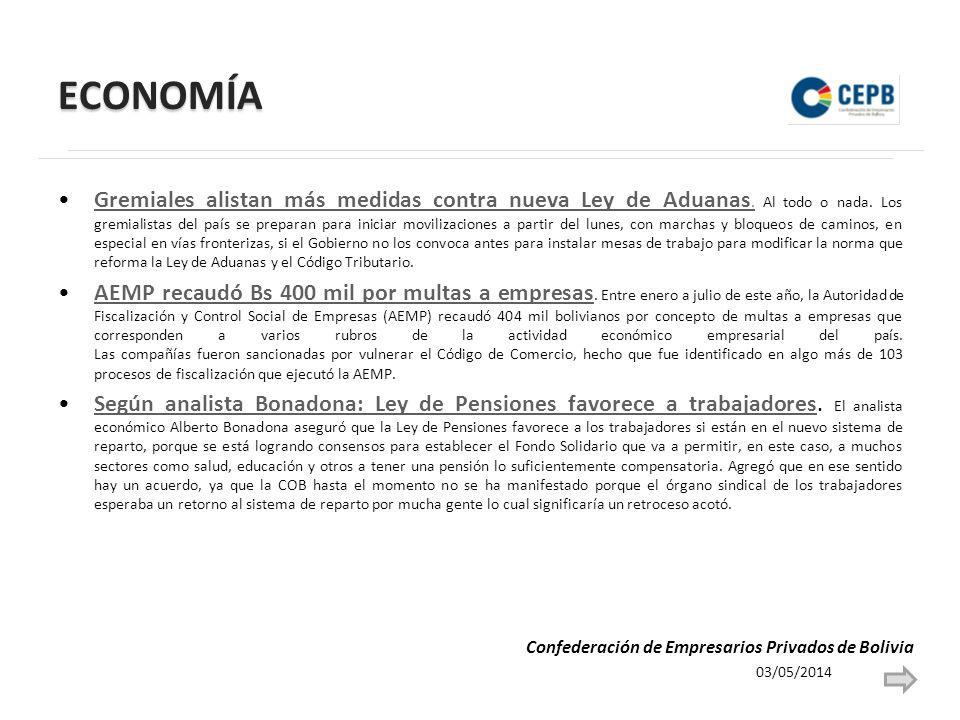 ECONOMÍA Gremiales alistan más medidas contra nueva Ley de Aduanas.