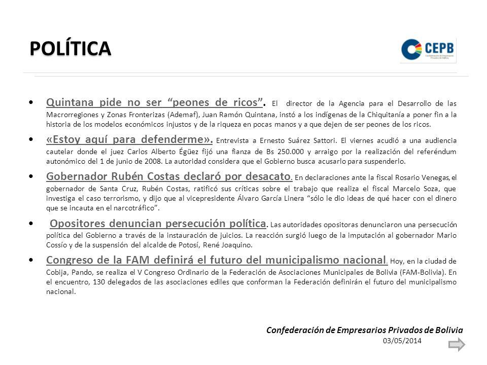POLÍTICA Quintana pide no ser peones de ricos.