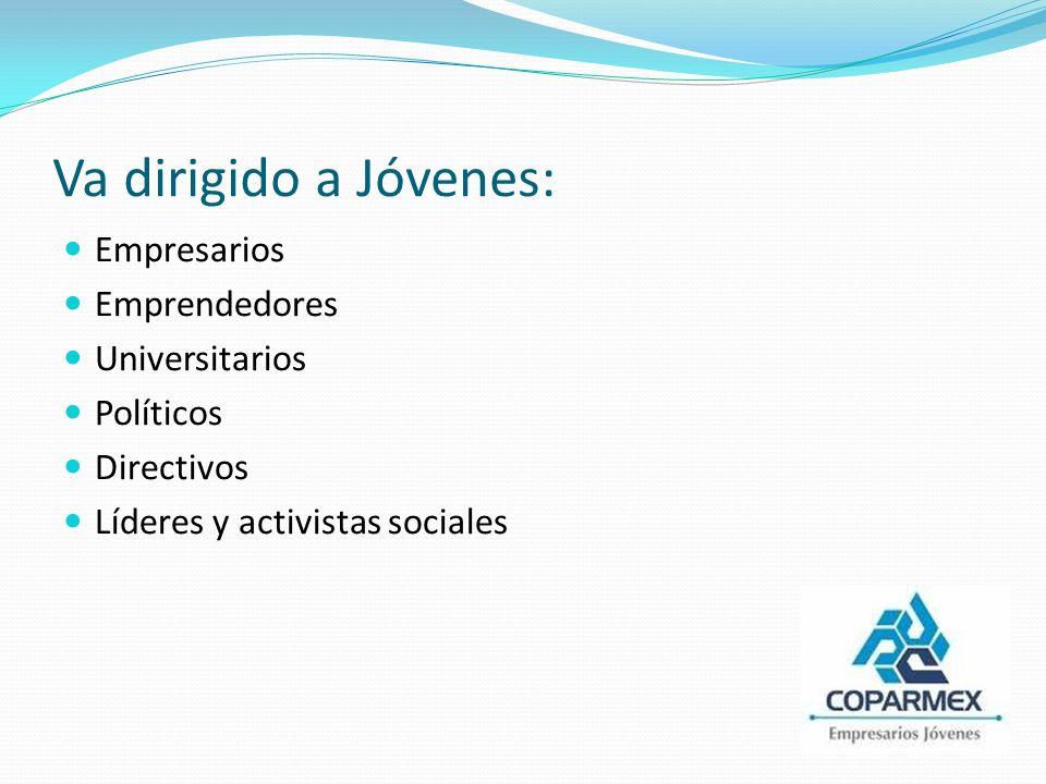 Va dirigido a Jóvenes: Empresarios Emprendedores Universitarios Políticos Directivos Líderes y activistas sociales