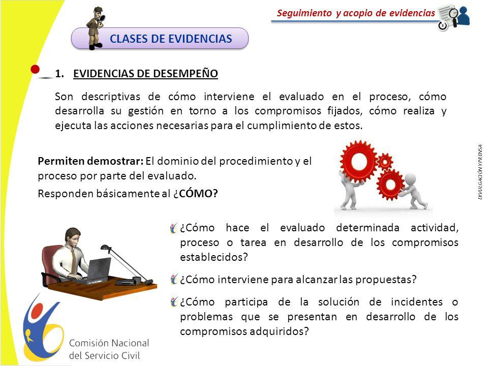 DIVULGACIÓN Y PRENSA Seguimiento y acopio de evidencias Permiten demostrar: El dominio del procedimiento y el proceso por parte del evaluado. Responde