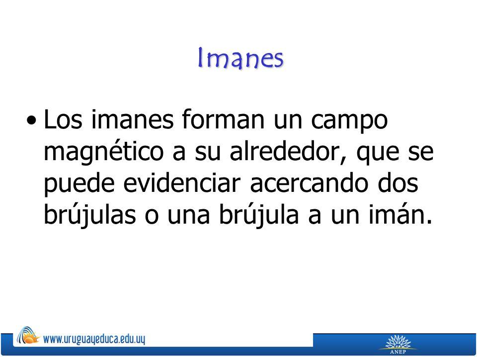 Imanes Los imanes forman un campo magnético a su alrededor, que se puede evidenciar acercando dos brújulas o una brújula a un imán.