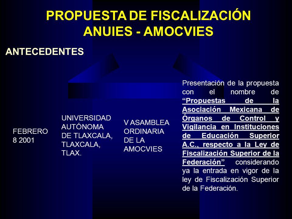 PROPUESTA DE FISCALIZACIÓN ANUIES - AMOCVIES ANTECEDENTES FEBRERO 8 2001 UNIVERSIDAD AUTÓNOMA DE TLAXCALA, TLAXCALA, TLAX.