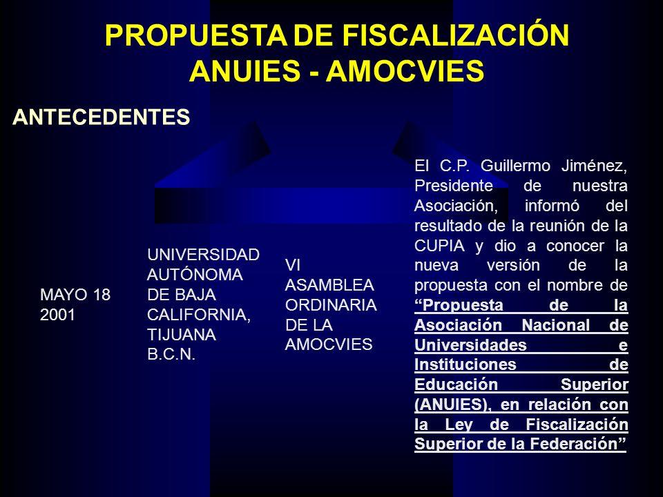 PROPUESTA DE FISCALIZACIÓN ANUIES - AMOCVIES ANTECEDENTES MAYO 18 2001 UNIVERSIDAD AUTÓNOMA DE BAJA CALIFORNIA, TIJUANA B.C.N. VI ASAMBLEA ORDINARIA D