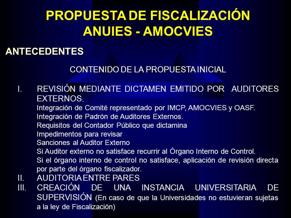 PROPUESTA DE FISCALIZACIÓN ANUIES - AMOCVIES ANTECEDENTES CONTENIDO DE LA PROPUESTA INICIAL I.REVISIÓN MEDIANTE DICTAMEN EMITIDO POR AUDITORES EXTERNO