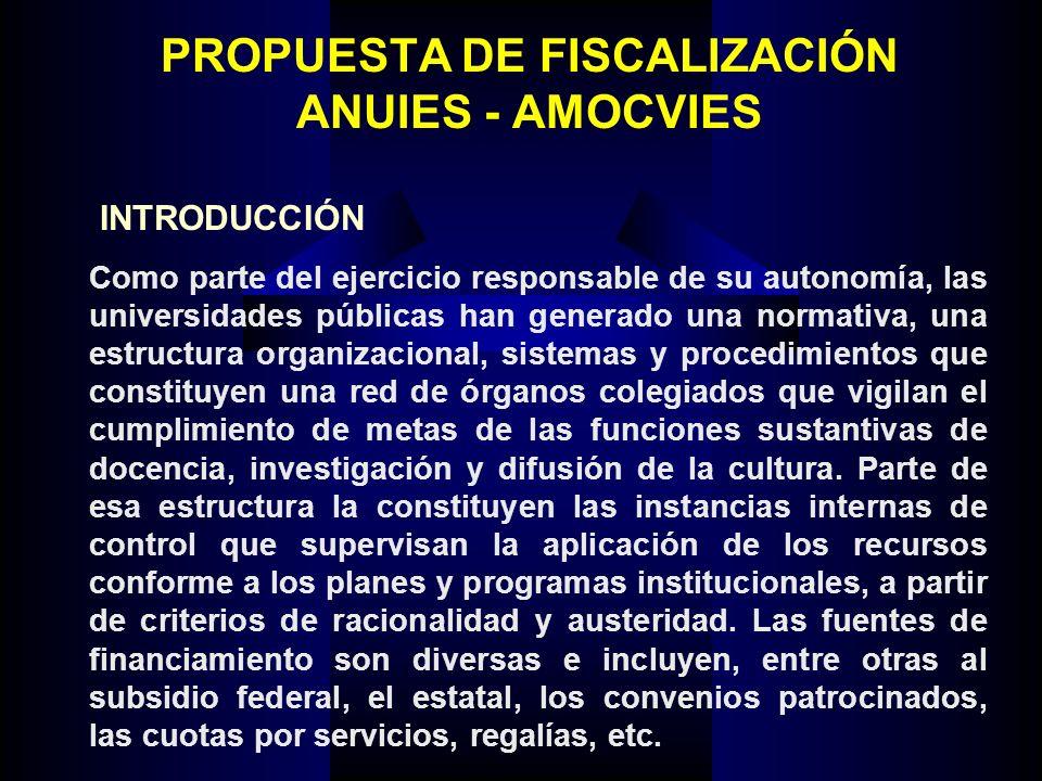 PROPUESTA DE FISCALIZACIÓN ANUIES - AMOCVIES Como parte del ejercicio responsable de su autonomía, las universidades públicas han generado una normati