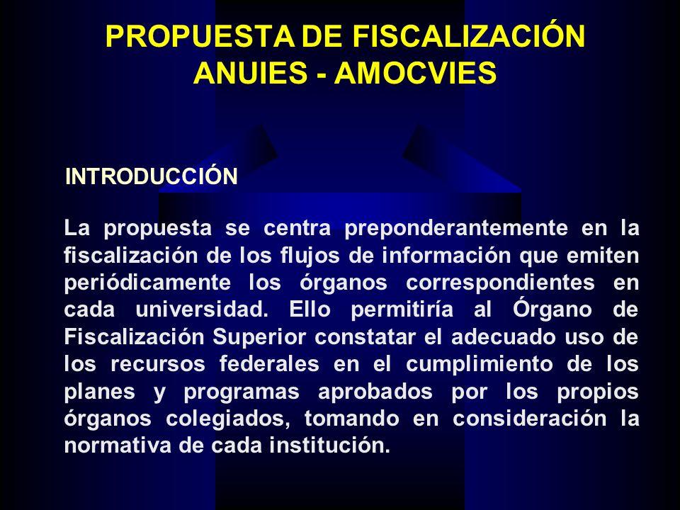 PROPUESTA DE FISCALIZACIÓN ANUIES - AMOCVIES La propuesta se centra preponderantemente en la fiscalización de los flujos de información que emiten periódicamente los órganos correspondientes en cada universidad.