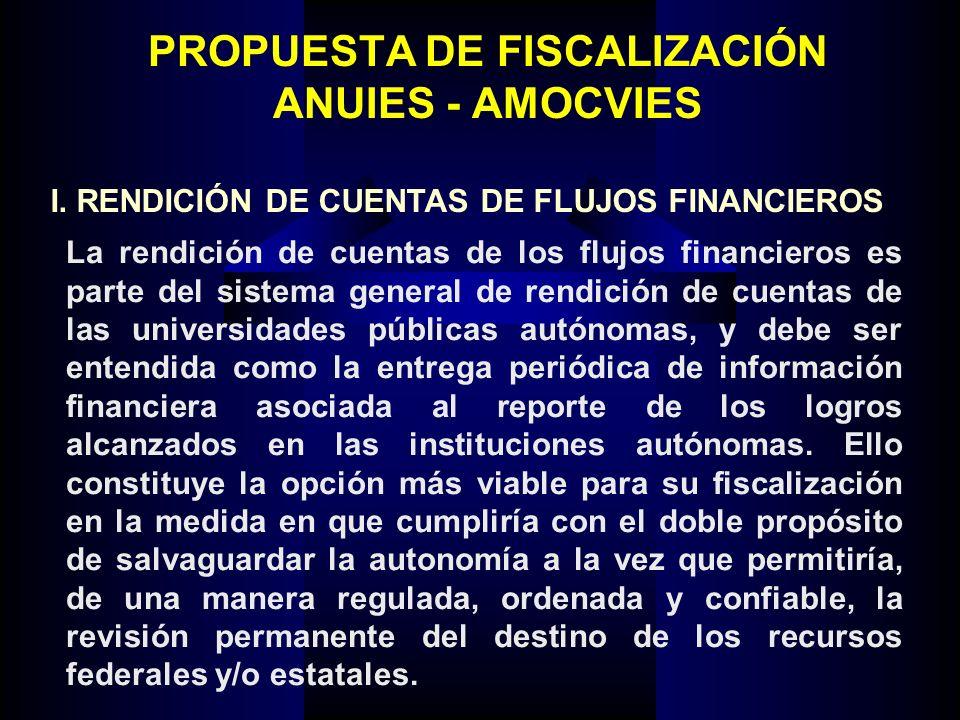 PROPUESTA DE FISCALIZACIÓN ANUIES - AMOCVIES La rendición de cuentas de los flujos financieros es parte del sistema general de rendición de cuentas de