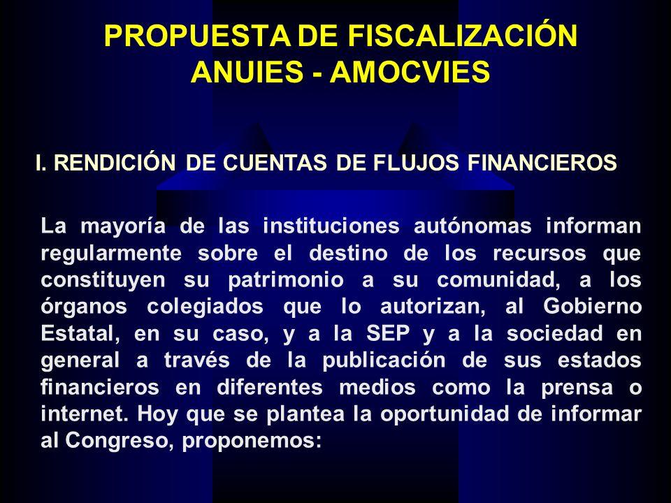 PROPUESTA DE FISCALIZACIÓN ANUIES - AMOCVIES La mayoría de las instituciones autónomas informan regularmente sobre el destino de los recursos que cons