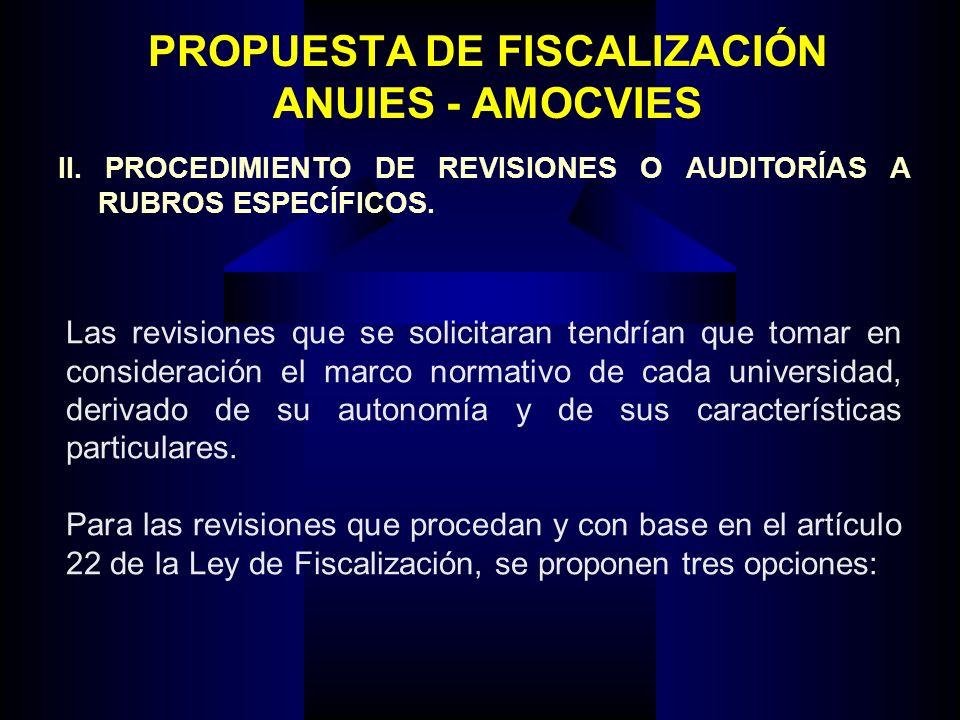 PROPUESTA DE FISCALIZACIÓN ANUIES - AMOCVIES Las revisiones que se solicitaran tendrían que tomar en consideración el marco normativo de cada universi
