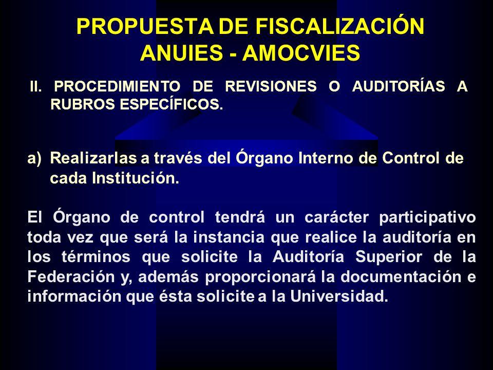PROPUESTA DE FISCALIZACIÓN ANUIES - AMOCVIES a) Realizarlas a través del Órgano Interno de Control de cada Institución. El Órgano de control tendrá un