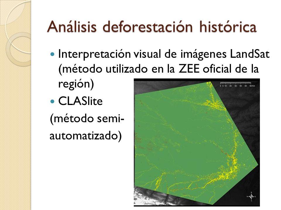 Análisis deforestación histórica Interpretación visual de imágenes LandSat (método utilizado en la ZEE oficial de la región) CLASlite (método semi- automatizado)