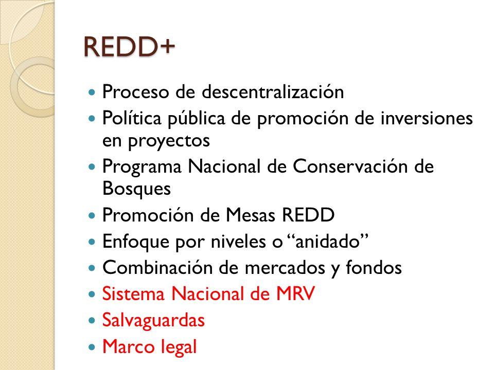 REDD+ Proceso de descentralización Política pública de promoción de inversiones en proyectos Programa Nacional de Conservación de Bosques Promoción de Mesas REDD Enfoque por niveles o anidado Combinación de mercados y fondos Sistema Nacional de MRV Salvaguardas Marco legal