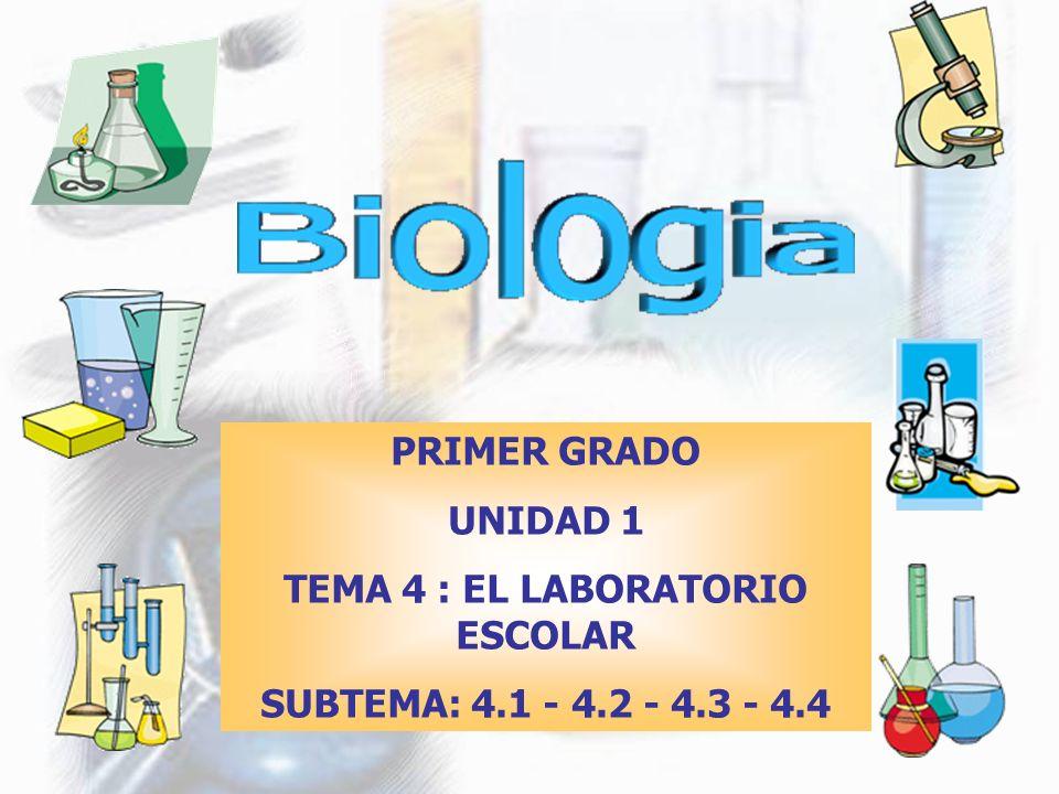 PRIMER GRADO UNIDAD 1 TEMA 4 : EL LABORATORIO ESCOLAR SUBTEMA: 4.1 - 4.2 - 4.3 - 4.4