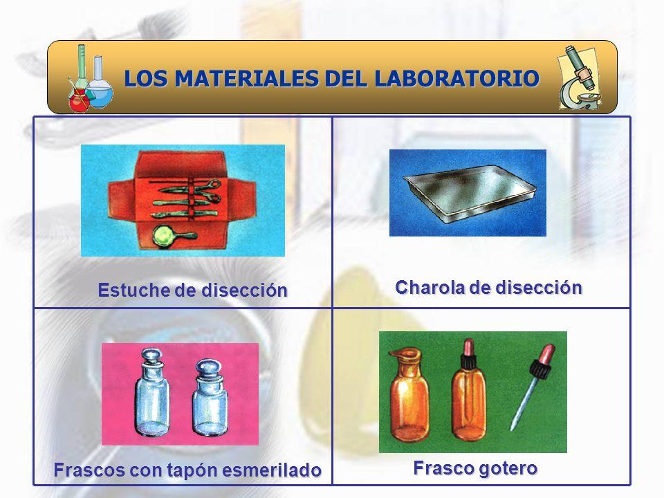 LOS MATERIALES DEL LABORATORIO Frascos con tapón esmerilado Estuche de disección Charola de disección Frasco gotero