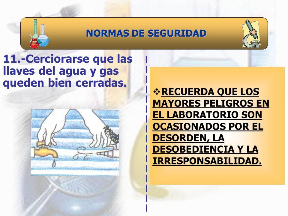 NORMAS DE SEGURIDAD 11 11.-Cerciorarse que las llaves del agua y gas queden bien cerradas. RECUERDA QUE LOS MAYORES PELIGROS EN EL LABORATORIO SON OCA