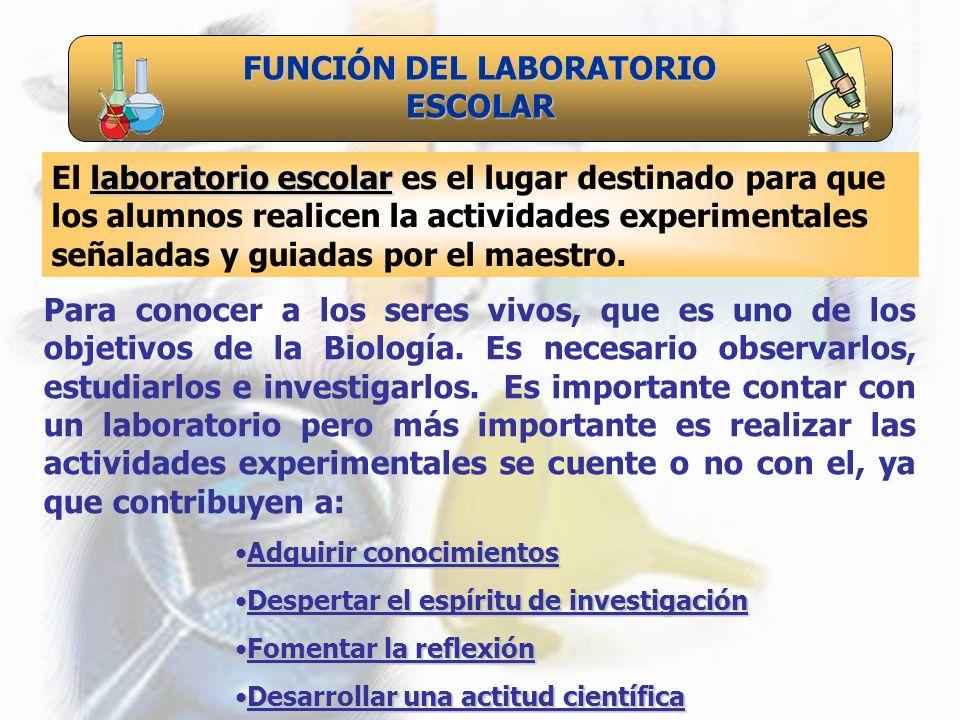FUNCIÓN DEL LABORATORIO ESCOLAR El l ll laboratorio escolar es el lugar destinado para que los alumnos realicen la actividades experimentales señalada