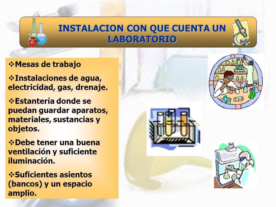 INSTALACION CON QUE CUENTA UN LABORATORIO Mesas de trabajo Instalaciones de agua, electricidad, gas, drenaje. Estantería donde se puedan guardar apara
