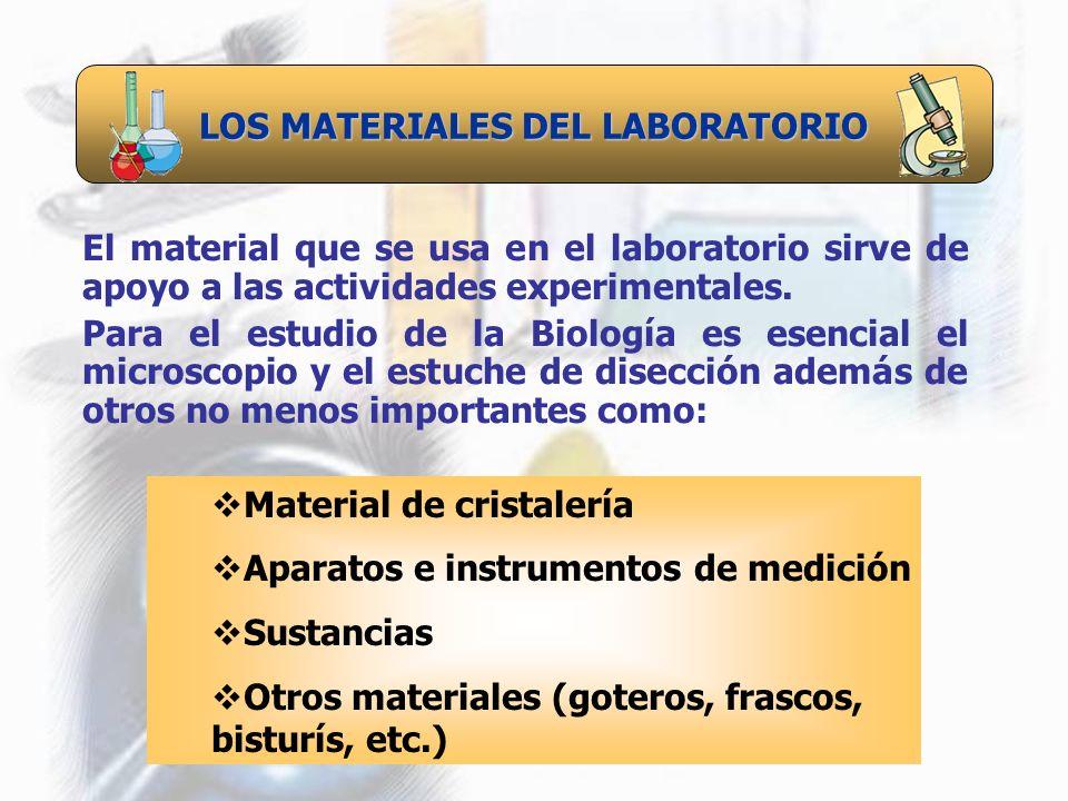 LOS MATERIALES DEL LABORATORIO El material que se usa en el laboratorio sirve de apoyo a las actividades experimentales. Para el estudio de la Biologí