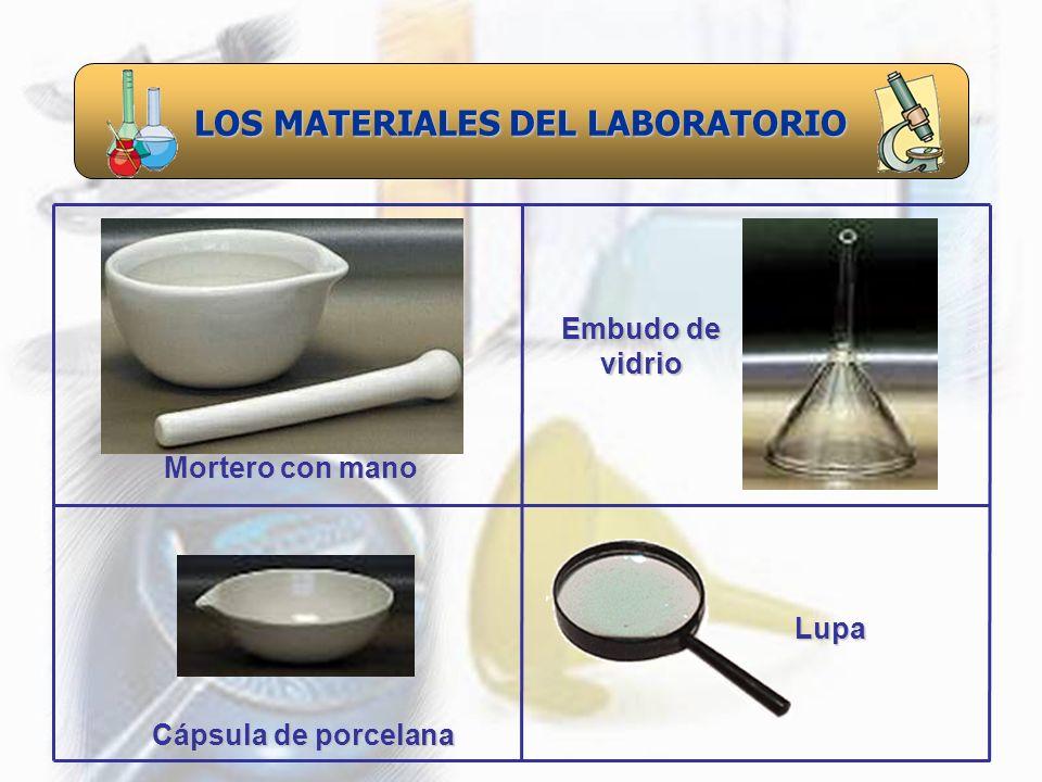 LOS MATERIALES DEL LABORATORIO Cápsula de porcelana Mortero con mano Embudo de vidrio Lupa