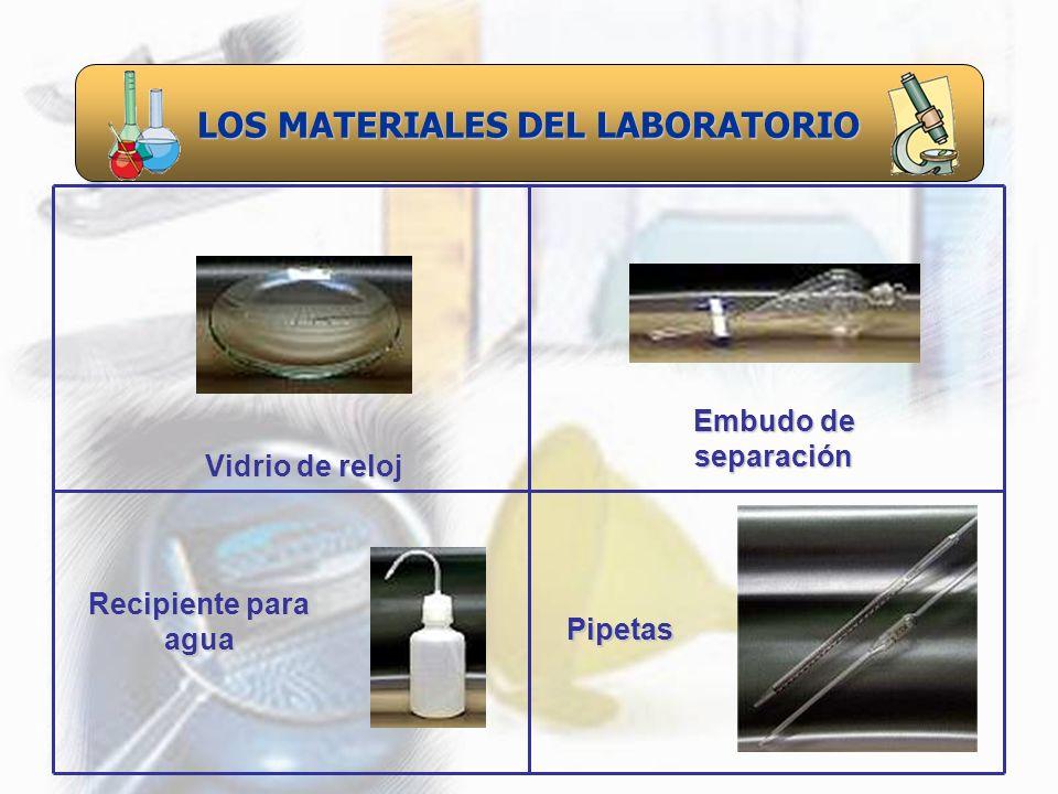 LOS MATERIALES DEL LABORATORIO Recipiente para agua Vidrio de reloj Embudo de separación Pipetas