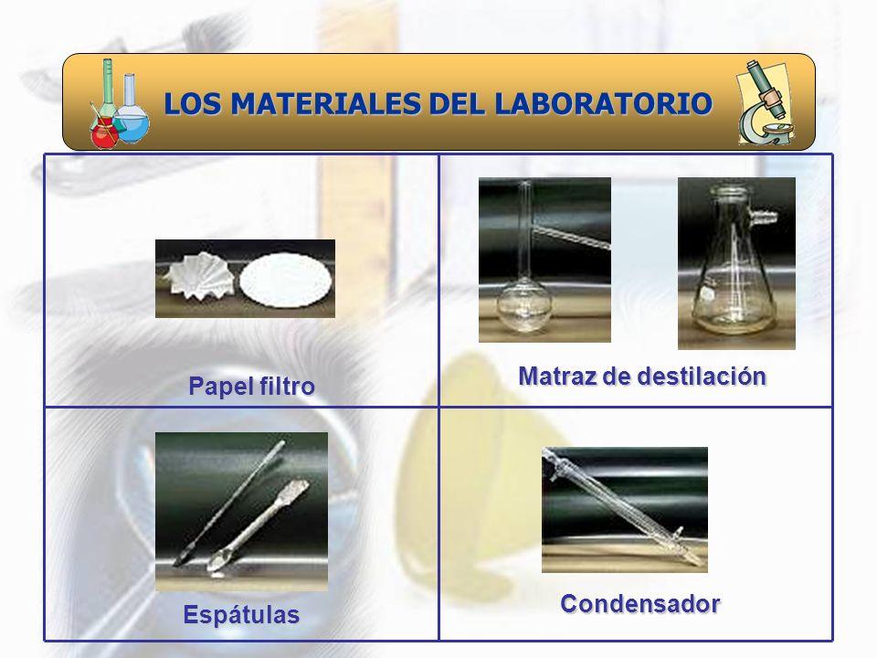 LOS MATERIALES DEL LABORATORIO Espátulas Papel filtro Matraz de destilación Condensador