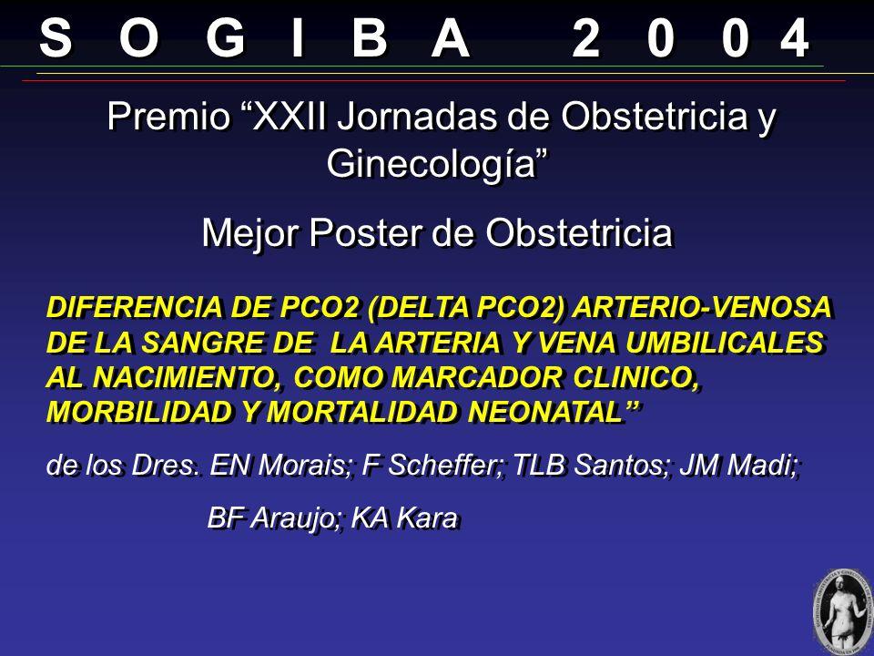 S O G I B A 2 0 0 4 Premio XXII Jornadas de Obstetricia y Ginecología Prof. Dr. Carlos Anibal Fernádez Mejor Trabajo de Obstétricas: RESULTADO PERINAT