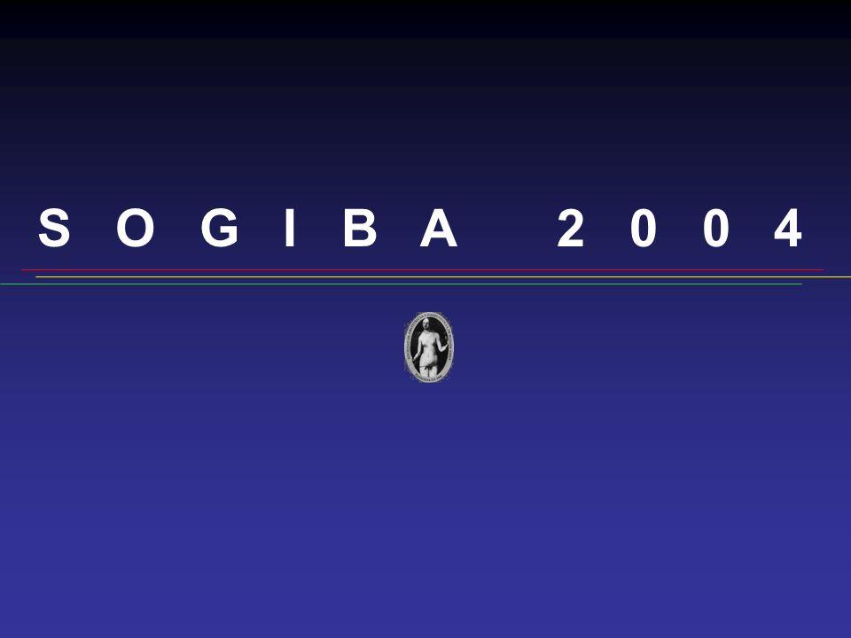 S O G I B A 2 0 0 4 Premio XXII Jornadas de Obstetricia y Ginecología Mejor Trabajo de Obstetricia ENFERMEDAD TROFOBLASTICA GESTACIONAL MALIGNA de los Dres.