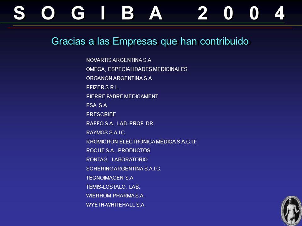 S O G I B A 2 0 0 4 Gracias a las Empresas que han contribuido EDITORIAL ASCUNE HNOS. EDITORIAL EL ATENEO EDITORIAL MEDICA PANAMERICANA ELEA S.A.C.I.F