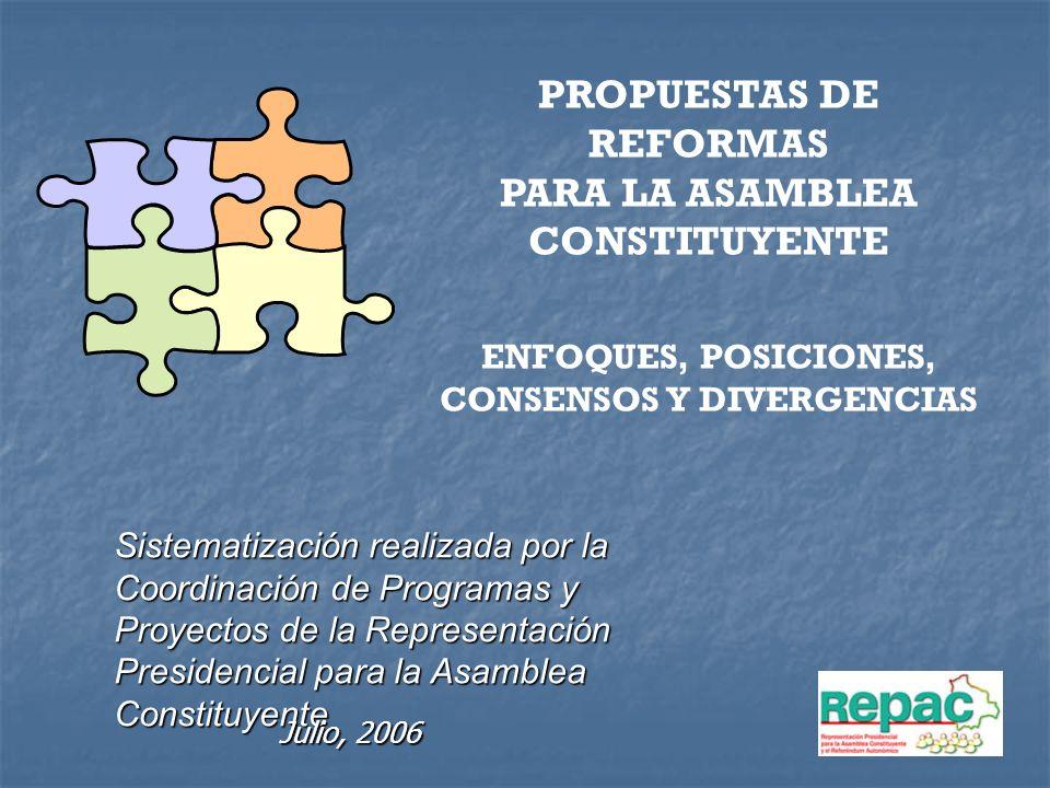 PROPUESTAS DE REFORMAS PARA LA ASAMBLEA CONSTITUYENTE ENFOQUES, POSICIONES, CONSENSOS Y DIVERGENCIAS Sistematización realizada por la Coordinación de